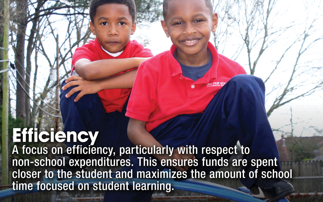 Efficiency - A focus on efficiency, particularly with respect to non-school expenditures. This ensures funds are spent closer to the student and maximizes the amount of school time focused on student learning.