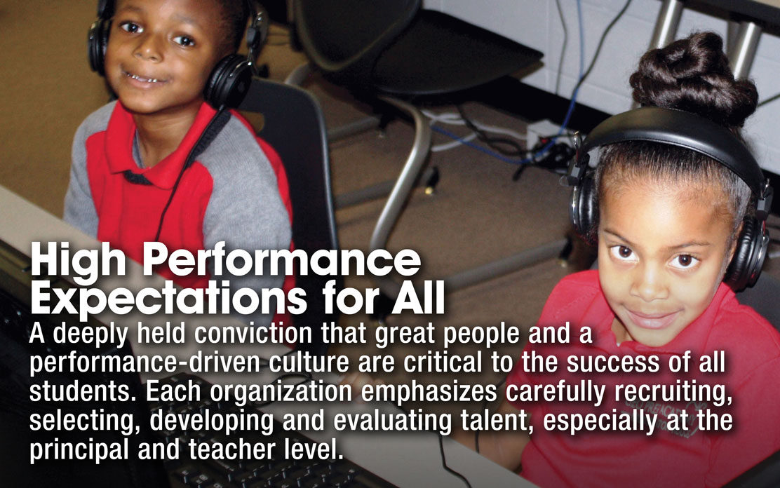 High Performance Expectations for All - A deeply held conviction that great people and a performance-driven culture are critical to the success of all students. Each organization ephasizes carefully recruiting, selecting, developing and evaluating talent, especially at the principal and teacher level.